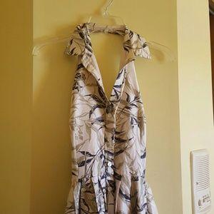 Anthropologie printer halter dress